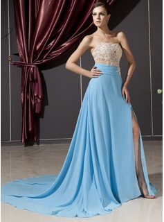 A-Line/Princess Sweetheart Court Train Chiffon Tulle Evening Dress With Lace Beading (017014249)