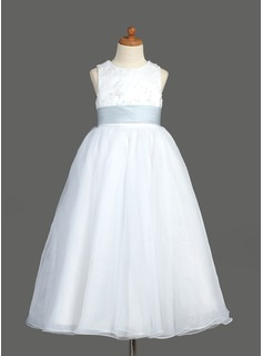 A-Line/Princess Scoop Neck Ankle-Length Organza Satin Flower Girl Dress With Lace Sash