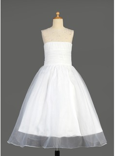 Princess Ankle-length Flower Girl Dress - Organza Sleeveless Scoop Neck With Ruffles/Beading/Sequins