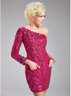 Sheath One-Shoulder Short/Mini Sequined Prom Dress With Beading (018018849)