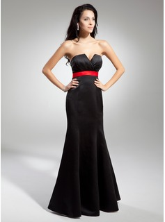 Empire Scalloped Neck Floor-Length Satin Evening Dress With Sash