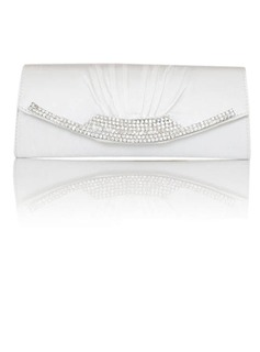 Gorgeous Satin With Austrian Rhinestone Evening Handbags/ Clutches More Colors Available (White) (012011034)
