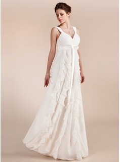 Empire Sweetheart Floor-Length Chiffon Wedding Dress With Ruffle (002011682)