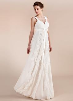 Corte imperial Escote corazón Hasta el suelo Chifón Vestido de novia con Lazo(s) Cascada de volantes