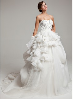 Ball-Gown Sweetheart Court Train Organza Tulle Charmeuse Wedding Dress With Ruffle Beadwork (002017558)