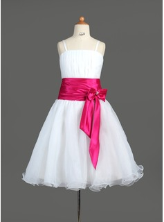 A-Line/Princess Knee-Length Organza Charmeuse Flower Girl Dress With Ruffle Sash Beading (010005774)