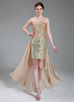 Sheath/Column Strapless Asymmetrical Chiffon Satin Sequined Prom Dress With Beading