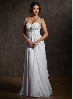 Impero A cuore Sweep treno Chiffon Abiti per matrimonio con Increspature Perline (002011570)