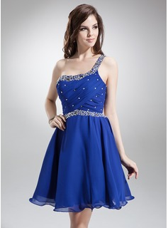 A-Line/Princess One-Shoulder Knee-Length Chiffon Homecoming Dress With Ruffle Beading Sequins