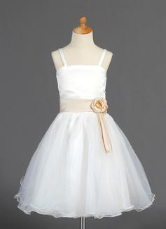 Princess Knee-length Flower Girl Dress - Organza/Satin Sleeveless With Sash/Flower(s)