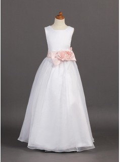 A-Line/Princess Scoop Neck Floor-Length Organza Flower Girl Dress With Sash Flower(s) Bow(s)