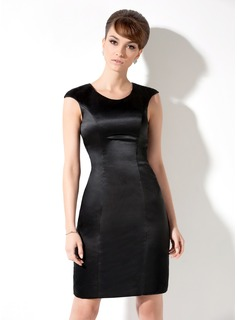 Sheath Scoop Neck Knee-Length Satin Cocktail Dress (016021176)