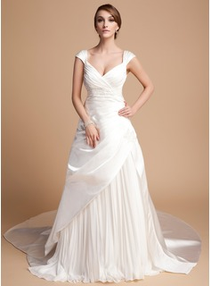 A-Line/Princess Sweetheart Cathedral Train Chiffon Satin Tulle Wedding Dress With Pleated