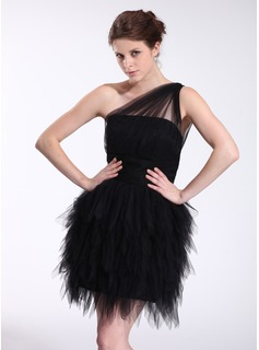 Sheath One-Shoulder Short/Mini Tulle Cocktail Dress With Ruffle (016026274)
