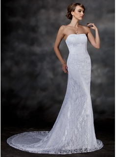 Mermaid Sweetheart Chapel Train Satin Lace Wedding Dress (002000513)