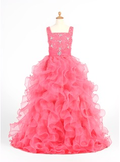 A-Line/Princess Scoop Neck Floor-Length Organza Satin Flower Girl Dress With Ruffle Beading (010005873)