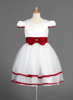 Corte A/Princesa Escote redondo Altura de la rodilla Organdí Satén Vestido para niña de arras con Fajas Bordado Lazo(s)