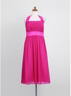 Empire Halter Tea-Length Chiffon Charmeuse Junior Bridesmaid Dress With Ruffle (009022494)