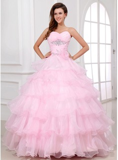 Ball-Gown Sweetheart Floor-Length Organza Quinceanera Dress With Ruffle Beading Flower(s) (021017335)