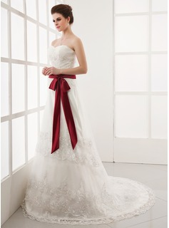 A-Line/Princess Sweetheart Chapel Train Satin Tulle Wedding Dress With Ruffle Lace Sashes