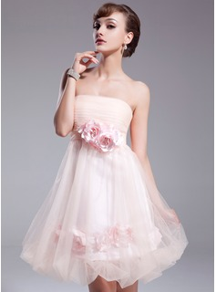 Empire Strapless Knee-Length Tulle Homecoming Dress With Ruffle Flower(s) (022020950)