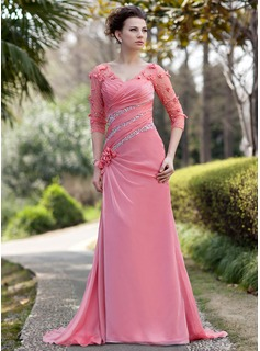 A-Line/Princess V-neck Sweep Train Chiffon Tulle Mother of the Bride Dress With Ruffle Beading Flower(s) Sequins