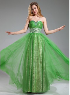 A-Line/Princess Sweetheart Floor-Length Tulle Prom Dress With Ruffle Beading (018018877)