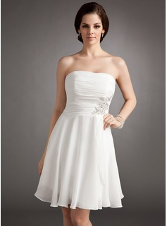 A-Line/Princess Strapless Knee-Length Chiffon Wedding Dress With Ruffle Lace Beadwork Sequins (002012118)