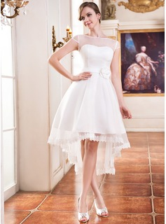 A-Line/Princess Scoop Neck Asymmetrical Organza Satin Wedding Dress With Lace Beading Flower(s)
