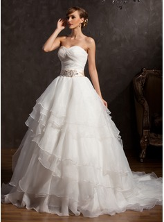 Ball-Gown Sweetheart Chapel Train Organza Charmeuse Wedding Dress With Lace Sash Sequins Bow