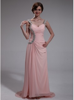 Sheath Sweetheart Sweep Train Chiffon Evening Dress With Ruffle Beading (017022730)