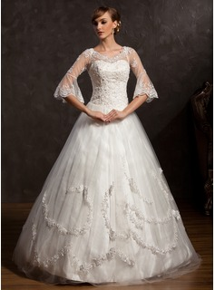 Ball-Gown V-neck Floor-Length Satin Tulle Wedding Dress With Lace Beading