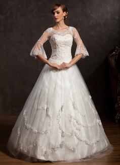 Corte de baile Escote en V Hasta el suelo Satén Tul Vestido de novia con Encaje Bordado