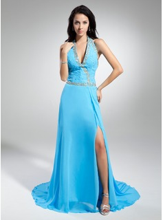 A-Line/Princess Halter Watteau Train Chiffon Evening Dress With Beading Sequins Split Front