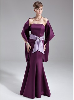 Trumpet/Mermaid Strapless Floor-Length Satin Bridesmaid Dress With Sash Crystal Brooch Bow