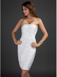 Sheath Strapless Knee-Length Satin Lace Cocktail Dress (016015346)