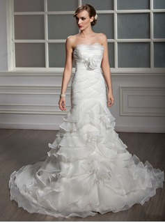Trumpet/Mermaid Strapless Chapel Train Organza Satin Wedding Dress With Cascading Ruffles