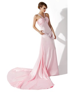 Sheath V-neck Watteau Train Charmeuse Prom Dress With Ruffle Beading (018004800)
