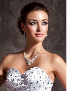 Jóias ( Silver Rhinestone Two Piece Ladies'  Wedding Jewelry Set 011005485)