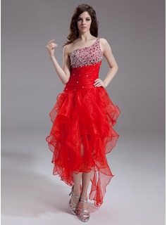 A-Line/Princess One-Shoulder Asymmetrical Organza Prom Dress With Beading Sequins (018011238)