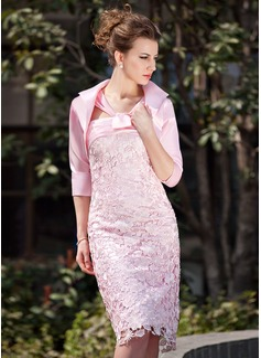Etui-Linie V-Ausschnitt Knielang Satin Spitze Kleid für die Brautmutter mit Rüschen