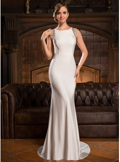 Trumpet/Mermaid Scoop Neck Sweep Train Tulle Jersey Evening Dress With Beading Sequins