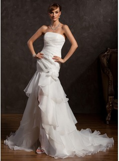 Mermaid Strapless Asymmetrical Organza Wedding Dress With Ruffle Lace Flower(s) (002015176)