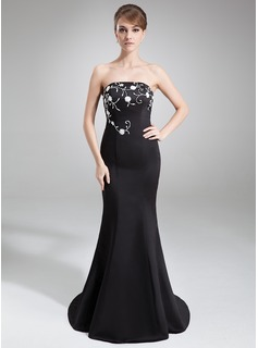 Trumpet/Mermaid Strapless Court Train Satin Evening Dress With Embroidered Beading Sequins