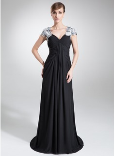 A-Line/Princess V-neck Sweep Train Chiffon Mother of the Bride Dress With Ruffle Lace