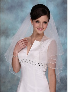 Elbow Veils Tulle Two-tier Beaded Edge Wedding Veils With Angel Cut/Waterfall (006020350)