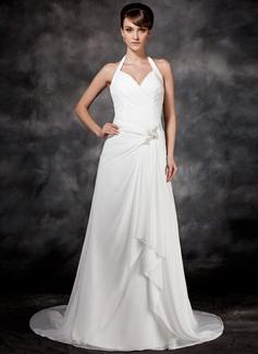 Corte A/Princesa Cabestro Cola corte Chifón Vestido de novia con Bordado Cascada de volantes