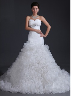Trumpet/Mermaid Sweetheart Chapel Train Organza Wedding Dress With Beading Cascading Ruffles