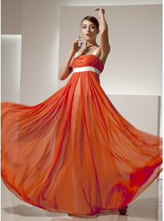 Empire Square Neckline Floor-Length Chiffon Charmeuse Holiday Dress With Ruffle Sash (020025838)