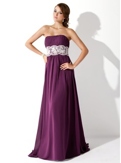 Empire Strapless Sweep Train Chiffon Prom Dress With Ruffle Lace Beading